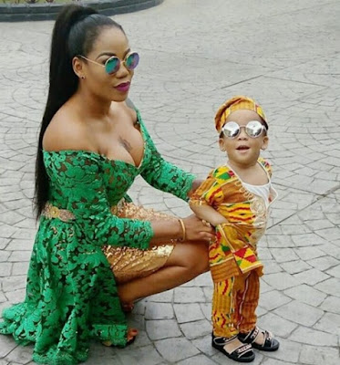 Toyin Lawani Flaunts Cleavage, Dazzles With Her Son