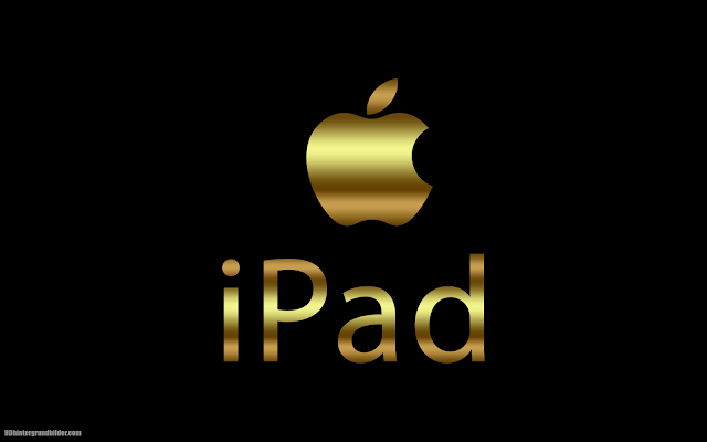 Apple wallpaper with golden text iPad and Apple logo
