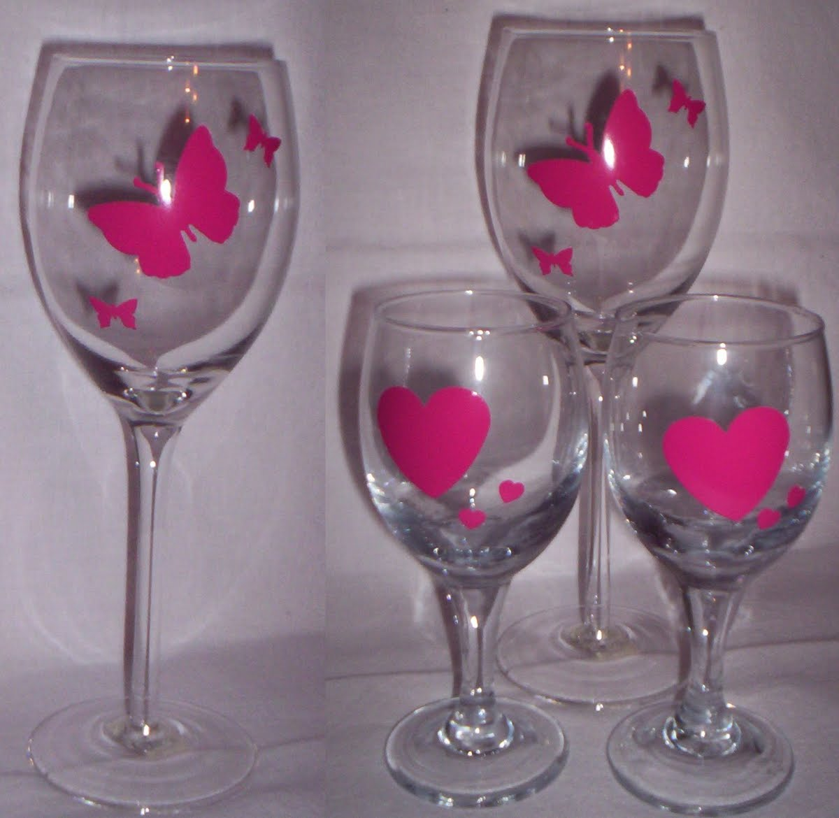 Sharyn And Dave Wine Glasses Decorated With Vinyl