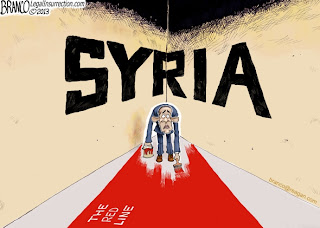 "Obama""s Red Line on Syria - Editorial Cartoon by A.F. Branco"