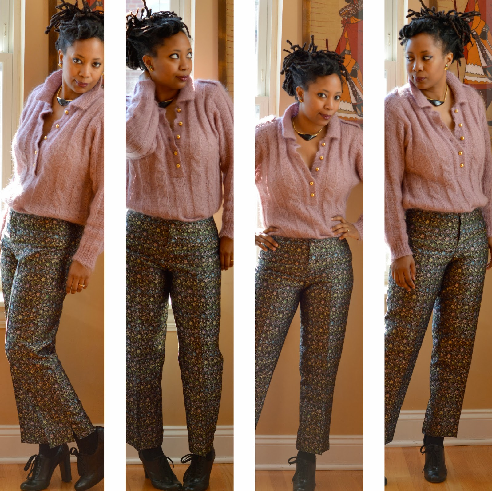 wearing brocade pants