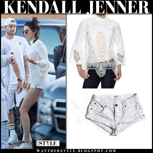 Kendall Jenner in white lace anna sui top and white one teaspoon shorts what she wore street style