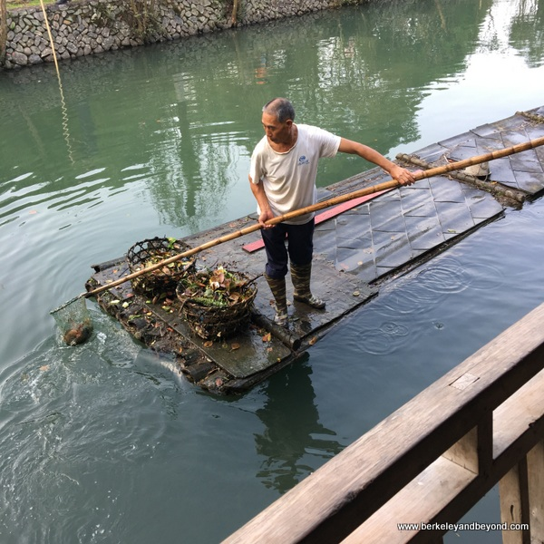 river cleaner at Lishui Ancient Street in Zhejiang Province, Wenzhou, China