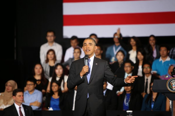Obama gave speech at Young South East Asian Leaders Initiative (YSEALI) Town Hall.