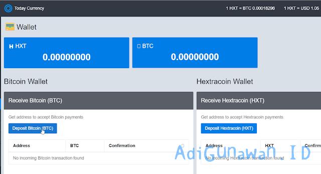 Cara Deposit Bitcoin (BTC) ke HextraCoin