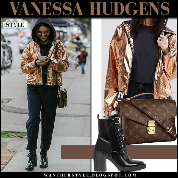 Vanessa Hudgens in metallic gold asos jacket and black patent boots what she wore street style 2017