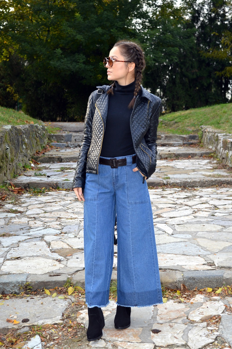 styling denim culottes turtleneck