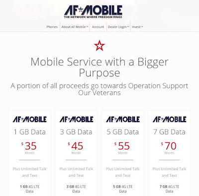 Armed Forces Data Plans 1 GB - 7 GB, $35 - $70 per month
