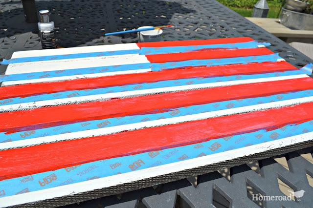 Painting an American Flag with painter's tape stripes