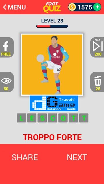 FootQuiz Calcio Quiz Football ( ATTO) soluzione livello 21-30