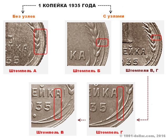 Разновидности копейки 1935 года