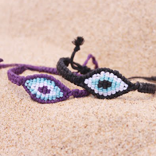 DIY evil eye macrame friendship bracelets