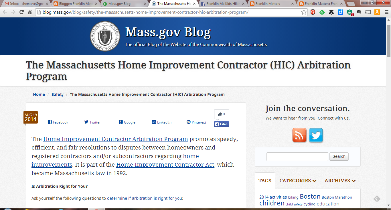 screen capture of home improvement arbitration article