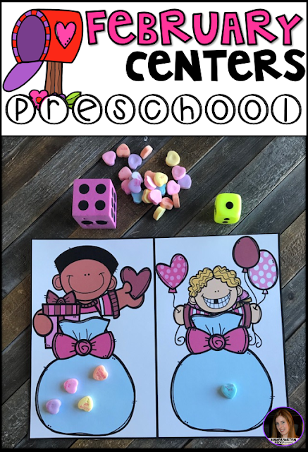 Are you looking for fun and simple thematic centers that you can prep quickly for your preschool classroom? Preschool February Centers was created for children ages 4-6 and mature 3 year-olds (looking for a challenge). These centers are sure to keep their interest and will help build important literacy, math and writing (fine-motor) skills.