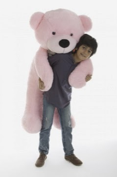 Lady Cuddles Is a beautiful pink teddy bear in sizes up to 6 feet tall