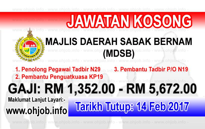 Jawatan Kerja Kosong Majlis Daerah Sabak Bernam (MDSB) logo www.ohjob.info februari 2017