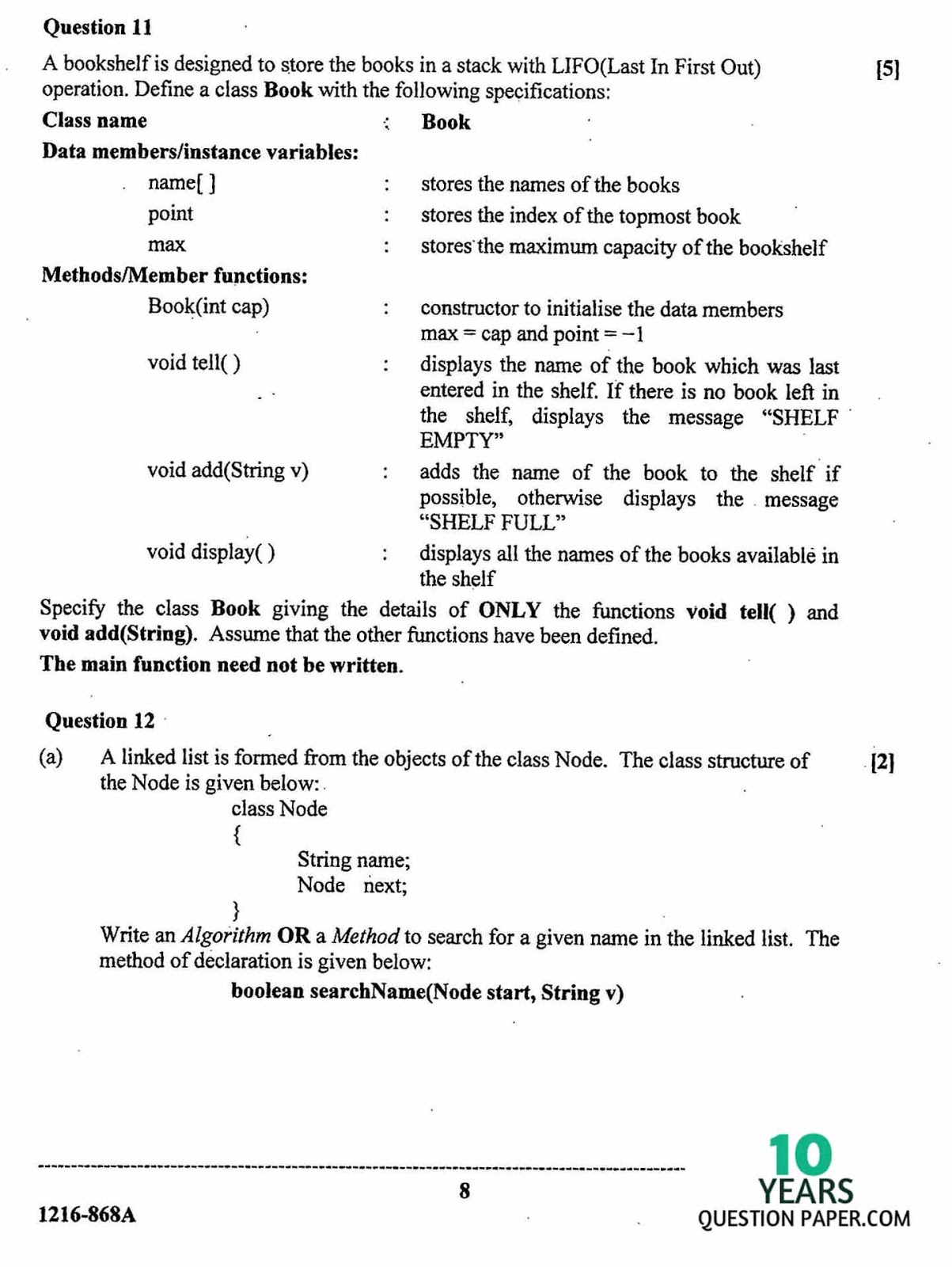 isc 2016 class 12th computer science THEORY question paper