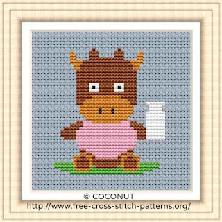 BABY COW, FREE AND EASY PRINTABLE CROSS STITCH PATTERN