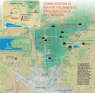 Mapa o plano de Angkor.