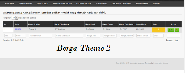 Source Code Point Of Sale Berbasis Web PHP MYSQL Aplikasi Penjualan OPtik versi Berga Theme