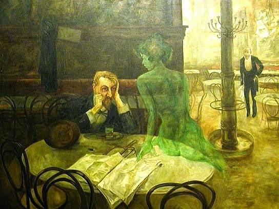 Cuadro de Viktor Olivera titulado el bebedor de absenta