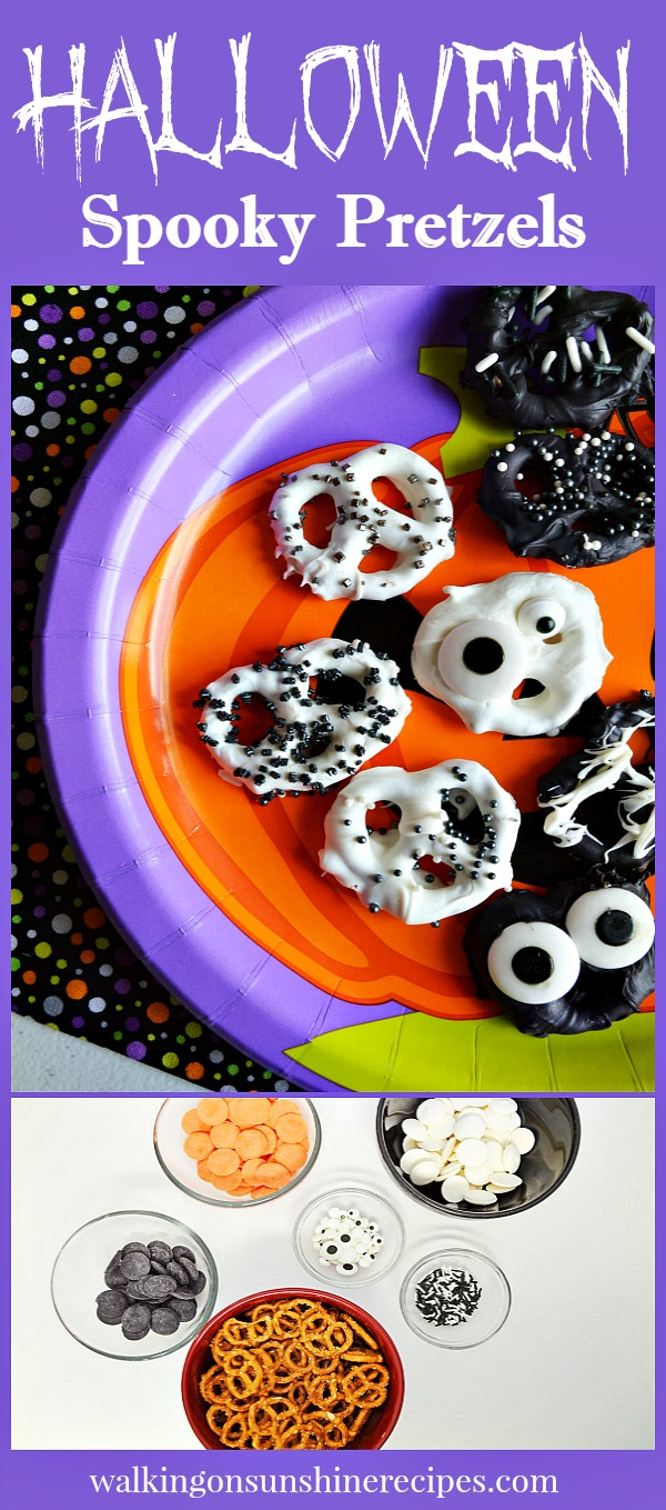 Chocolate Covered Spooky Halloween Pretzels | Walking on Sunshine Recipes
