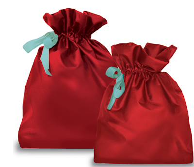 red fabric gift bags, two sizes