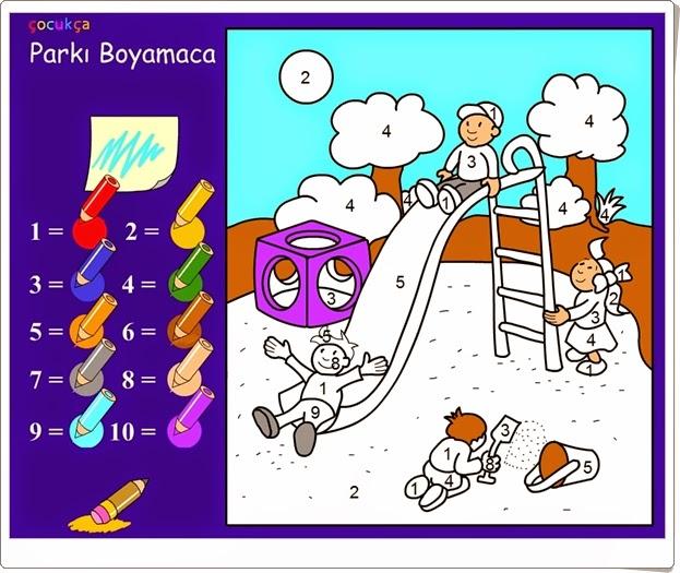 Colorear según los números, Educación Infantil