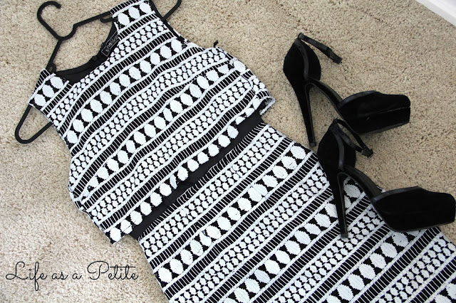 Monochrome Black and White Double Layered Dress  - Life as a Petite (lifeasapetite)