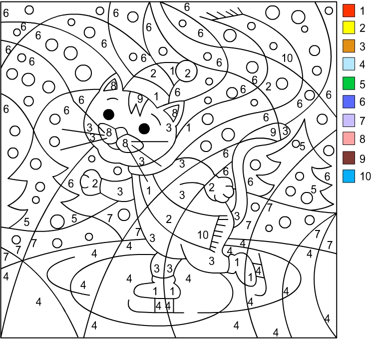 Christmas Color By Number Coloring Pages Math Grade