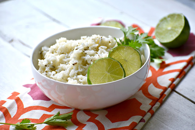 cilantro lime rice in a bowl on a table