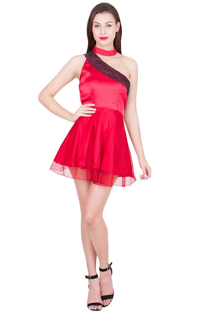 Red Lacy mini dress One sided off shoulder by Ashima S Couture-