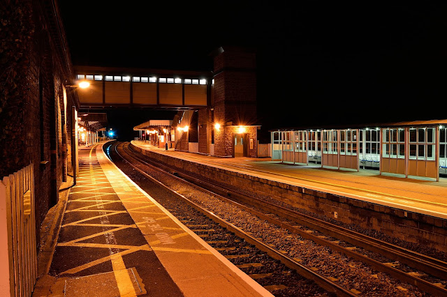 Night Photo showing deserted platforms 1 and 2 of former Midland Railway Wellingborough railway station