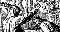 Detail from 'Nathan Rebukes David,' woodcut illustration by Julius Schnoor von Carolsfeld originally printed in Das Buch der Bücher in Bilden.