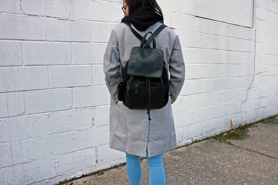 Gray Coat Leather Backpack