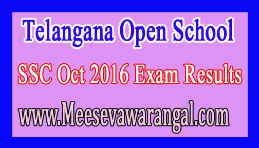 Telangana Open School SSC Oct 2016 Exam Results
