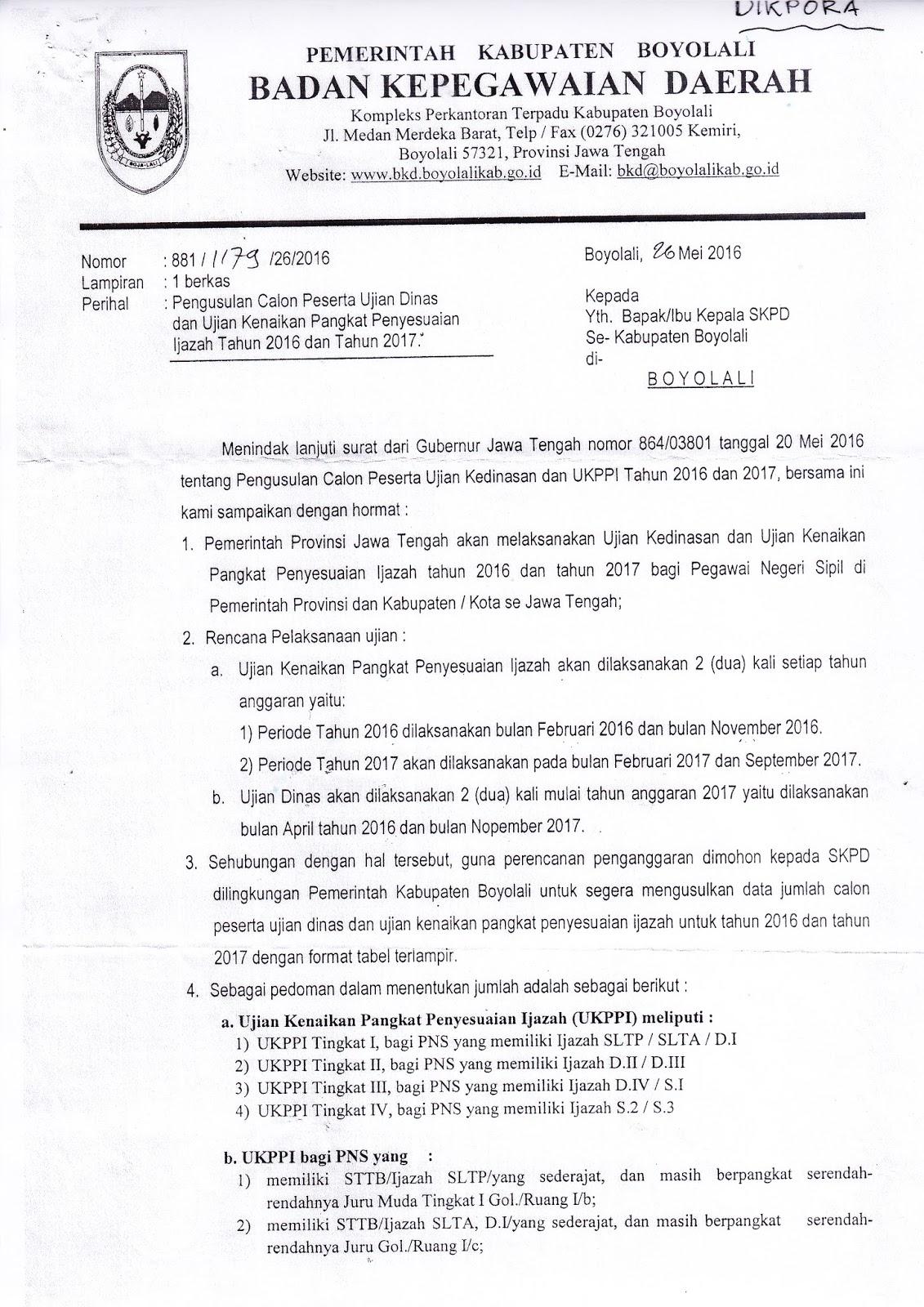 Info Sma Smk Kabupaten Boyolali Pengusulan Calon Peserta Ujian Dinas Dan Ujian Kenaikan Pangkai