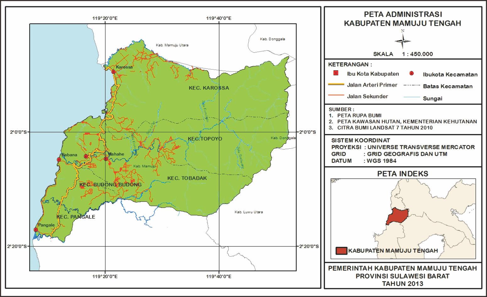 Peta Kabupaten Mamuju Tengah