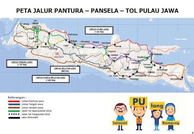 Peta Jalur Pantura Pansela Tol Pulau Jawa.. Sumber : PUPR.