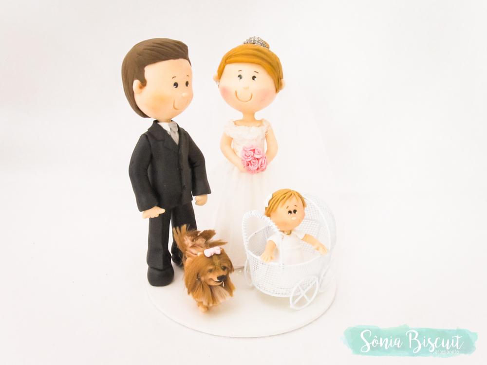 Topo de Bolo, Biscuit, Casamento, Noivinhos, Sônia Biscuit