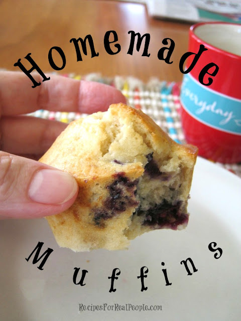 What do you do with a leftover cup of fresh blueberries? You make homemade muffins, of course! Here's the easy recipe.