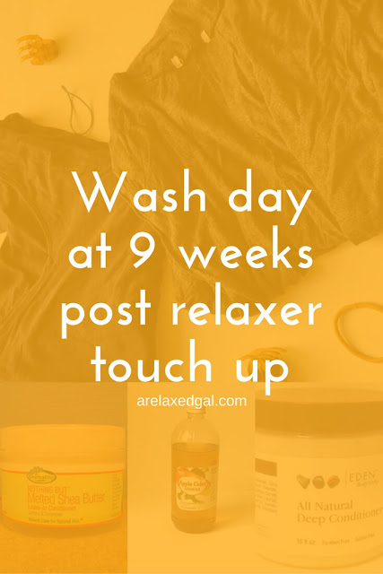 A relaxed hair wash day: 9 weeks post relaxer touch up. | arelaxedgal.com