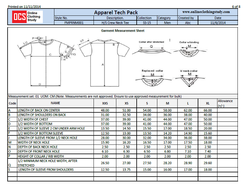 What is a Specification Sheet in Fashion? | Online Clothing Study