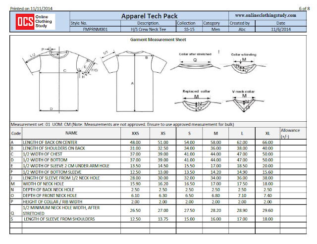 T-shirt measurement sheet