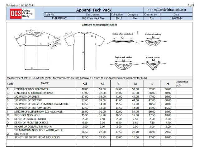 T-shirt measurement sheet