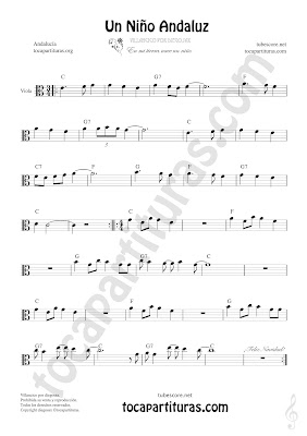 Viola Partitura de Un Niño Andaluz Sheet Music for Viola Music Score