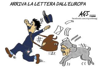 commisione europea, lettera, debito, conti pubblici, gentiloni, rigore, satira, vignetta