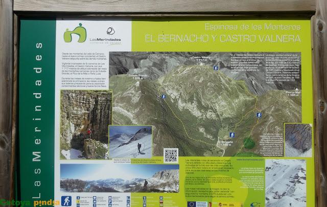 Panel de información de la ruta circular a Castro Valnera desde el Bernacho.