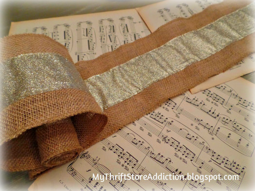 All That Glitters: Rustic Glam Birch Slices and Tablescape mythriftstoreaddiction.blogspot.com How to use burlap ribbon and sheet music to create a charming table runner