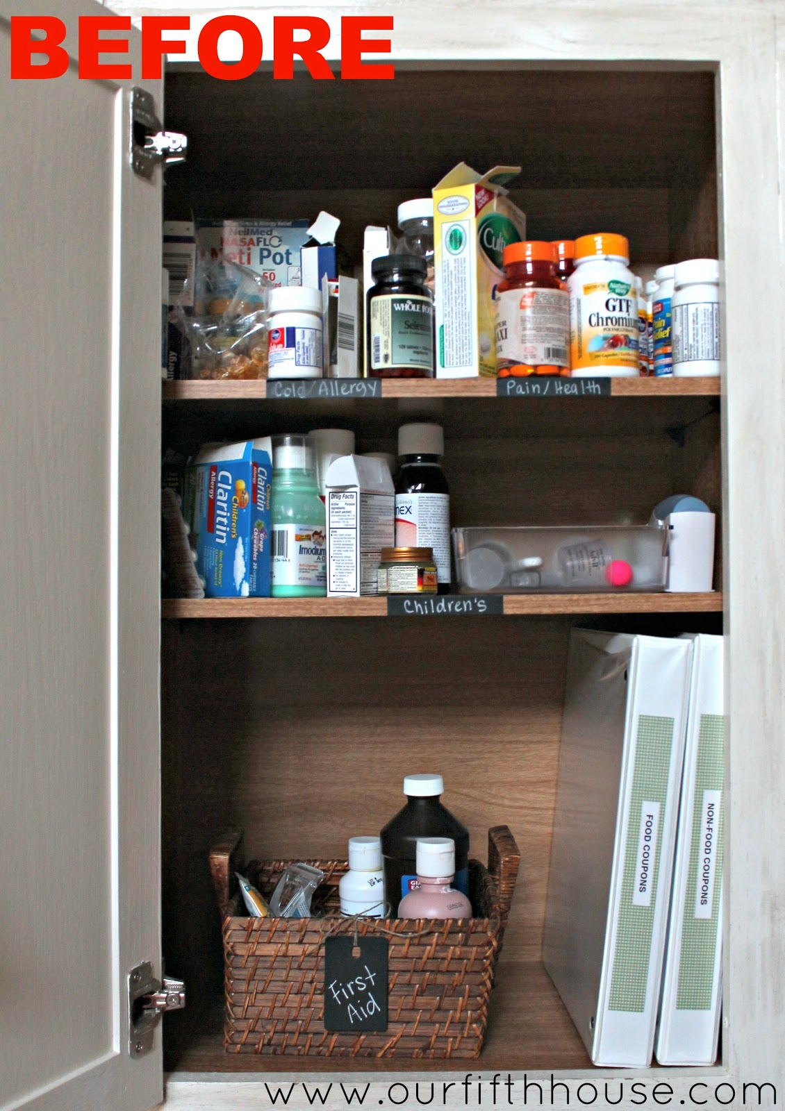 Organized Medicine Cabinet   Before